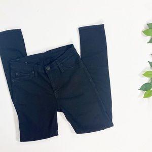 Hudson Black Midrise Nico Distressed Skinny Jeans
